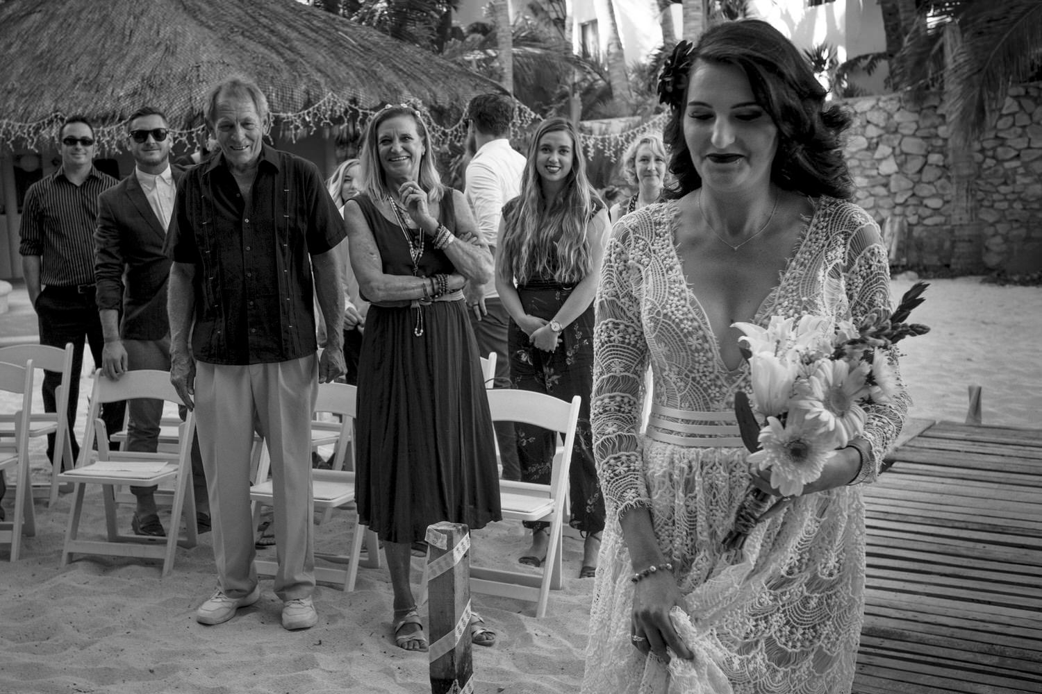 bride walking to the aisle