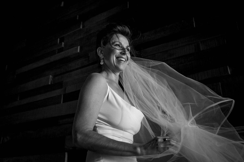 happy bride entrance