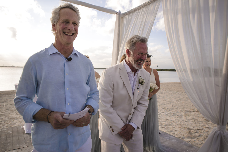 groom happy to see his bride