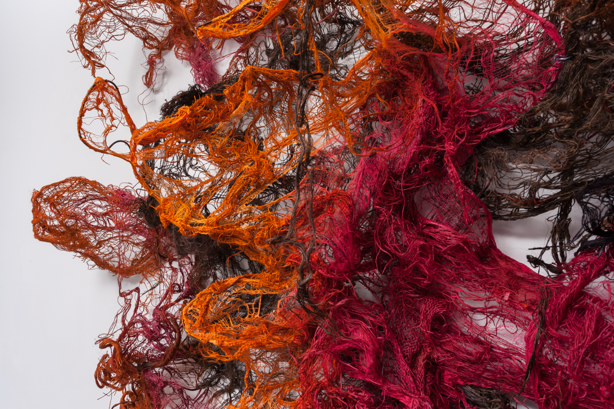 Image credit: Nnenna Okore, Body Language, 2015,  Burlap ,dye, wire, 72 x 96 x 25 inches, Image courtesy of the artist and Monique Meloche Gallery, Chicago.