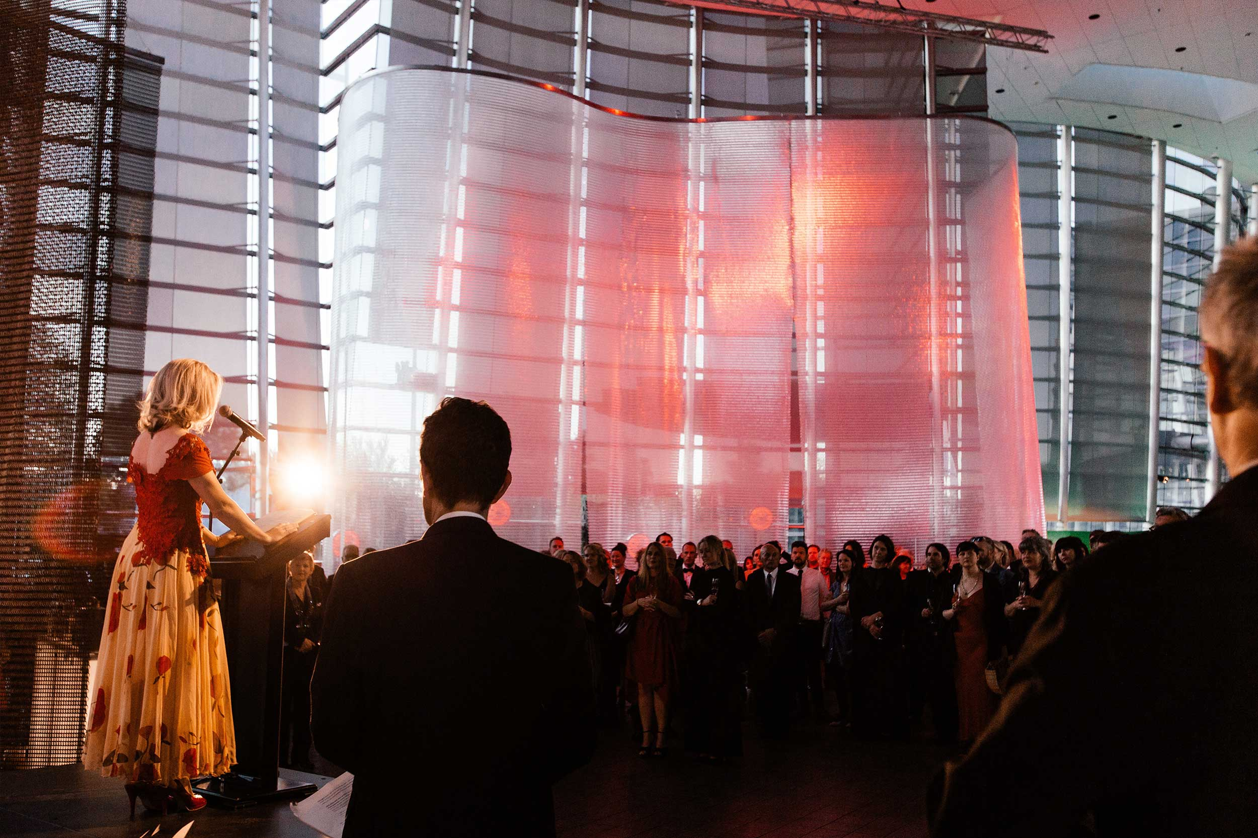 Kaynemaile Hire Screens for Art Do event at Christchurch Art Gallery