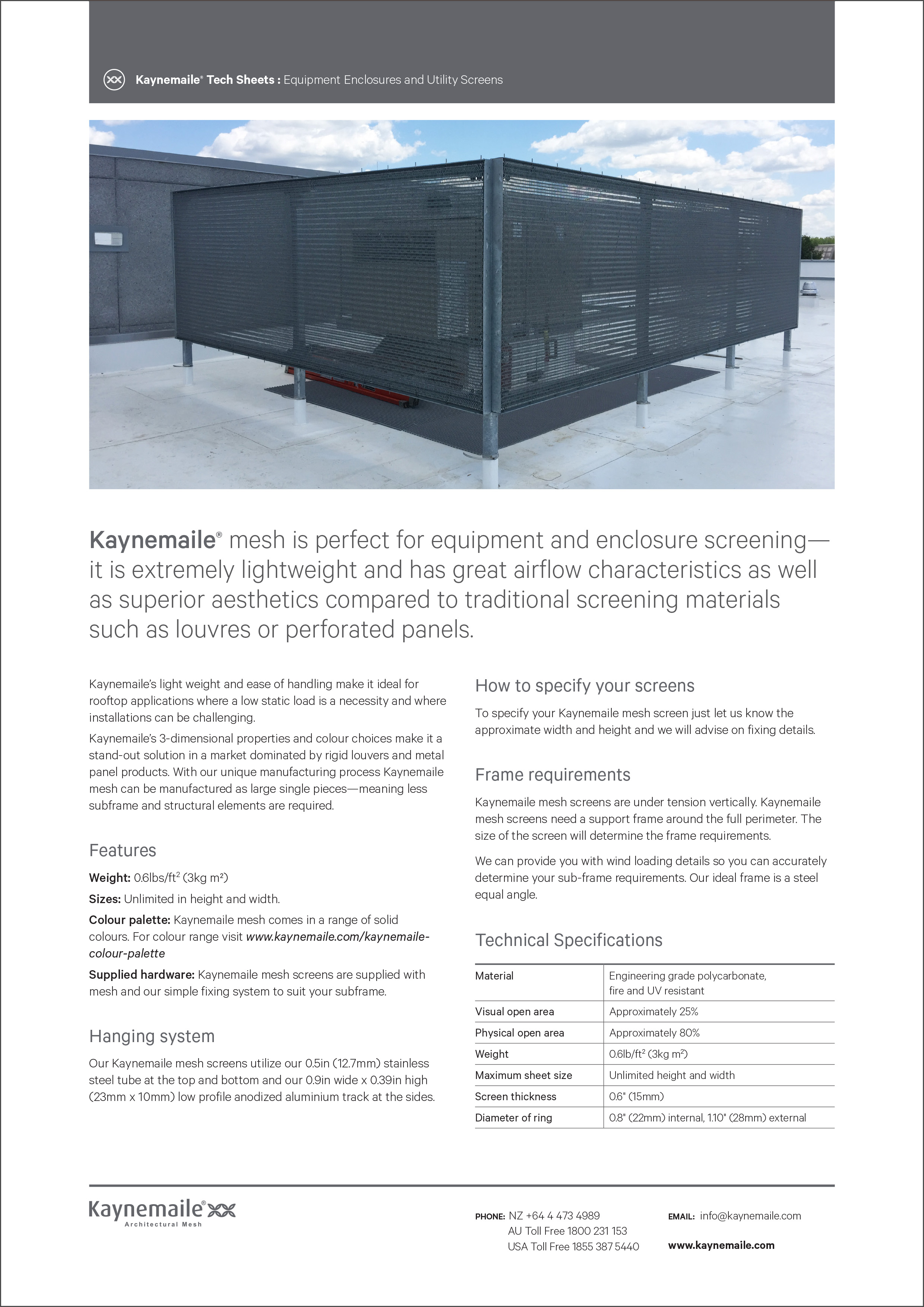 Kaynemaile Equipment Enclosures and Utility Screens     Download →