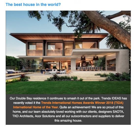 Trends IDEAS Magazine — Double Bay residence II TIDA International Home of The Year 2018