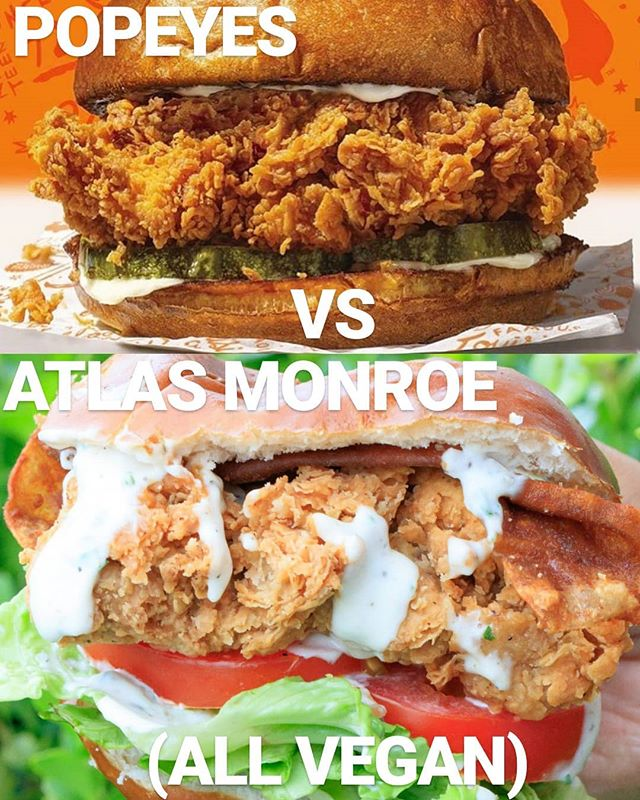 🔥🔥🔥1. ATLAS MONROE HAS ENTERED THE F*CKIN CHAT 2. YOU CAN NOW PLACE YOUR ORDERS (link in BIO) 3. 🚨Crispy Popcorn Chick'n GIVEAWAY BELOW!!!🚨 • SO Clearly @popeyeslouisianakitchen chick'n sandwich has conquered all the others so we gotta compare apples🍎 to apples🍎 here - nevermind @chickfila @kfc or @wendys rn 🤦🏽‍♀️ • GIVAWAY!!📣🔈- We already know #vegan chick'n wins any day for SO MANY REASONS (especially when we are making it from scratch with our bare hands- #blackgirlmagic 💅🏾)- but let us let these mfs know. Popcorn chick'n getting shipped to 7 LUCKY WINNERS! How to win!? • •1. REPOST this & tag @atlas.monroe •2.USE the hashtags #atlasmonroe & #veganstakethecake •3.TAG 3 social media pages •4.LET'S GO!!