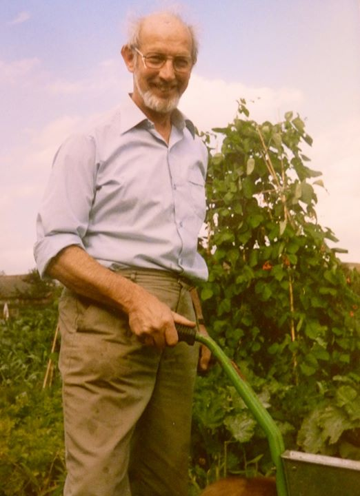 Dad growing the vegetables they had at dinner with wine!