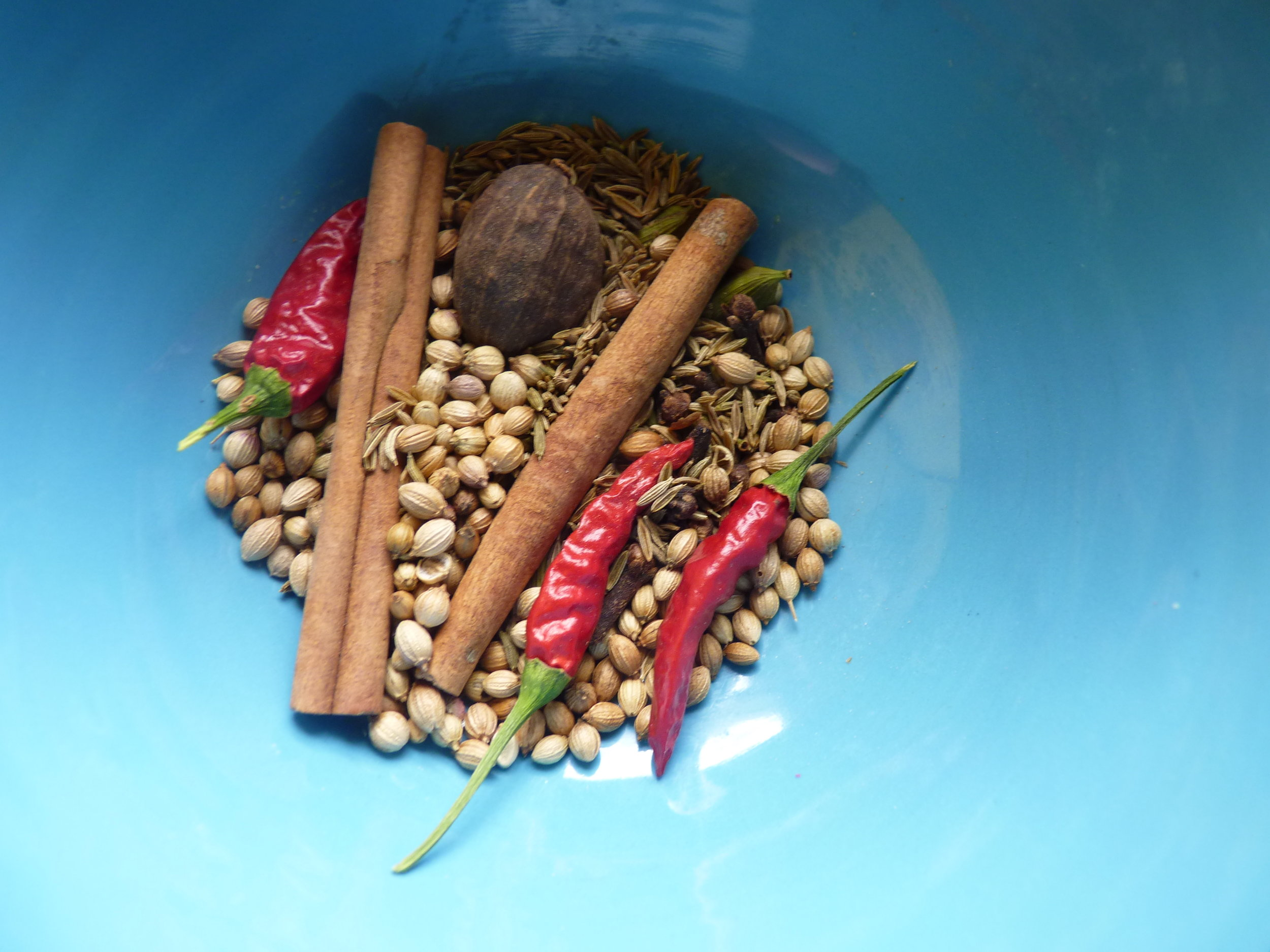 Gather the spices and then fry them.