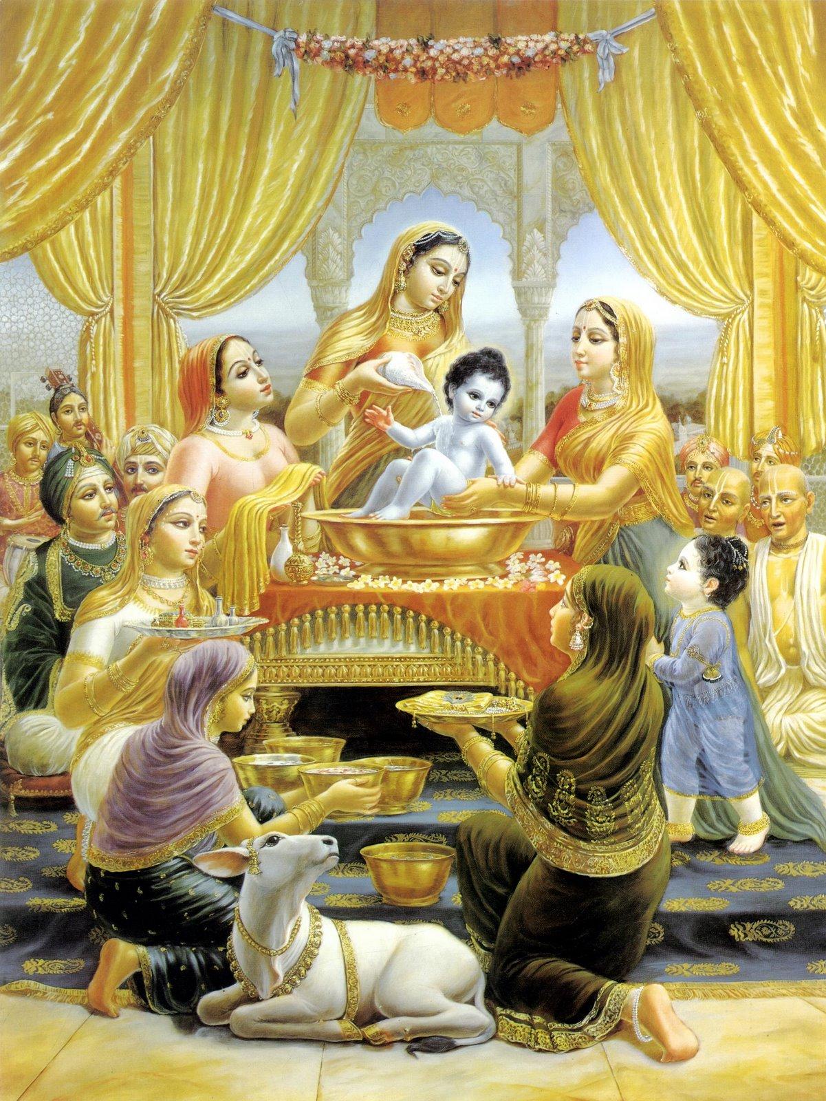 Baby Krishna's bathing and naming ceremony.