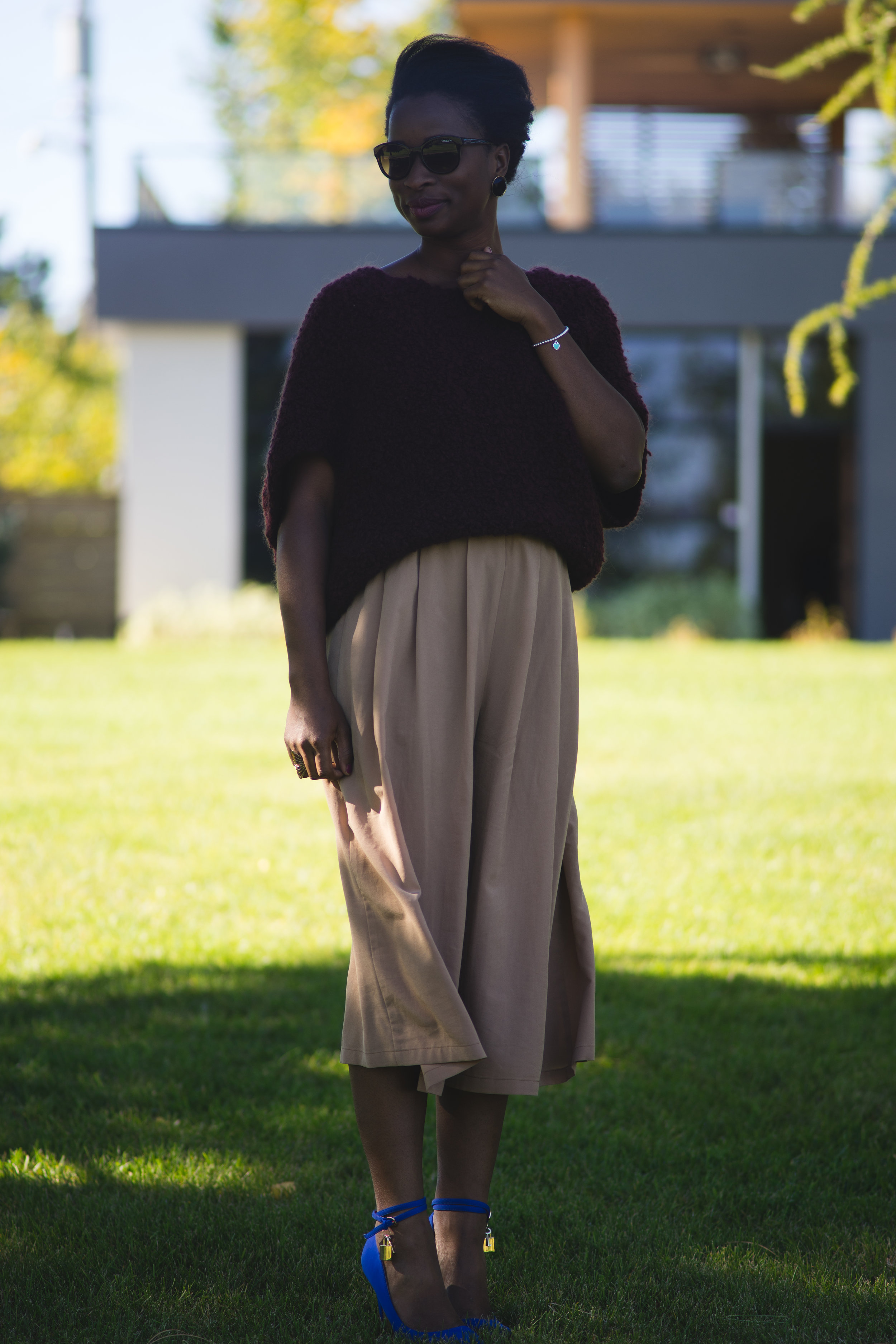 "Elegant and sophisticated outfit: personal stylist is Knit Me Up from Calgary Alberta. Burgundy short sleeve sweater, styled with culottes from Japan. Personal stylist Sade Babatunde designed this look with your ""typical classy girl"" in mind! Very fashion forward and yet approachable!"