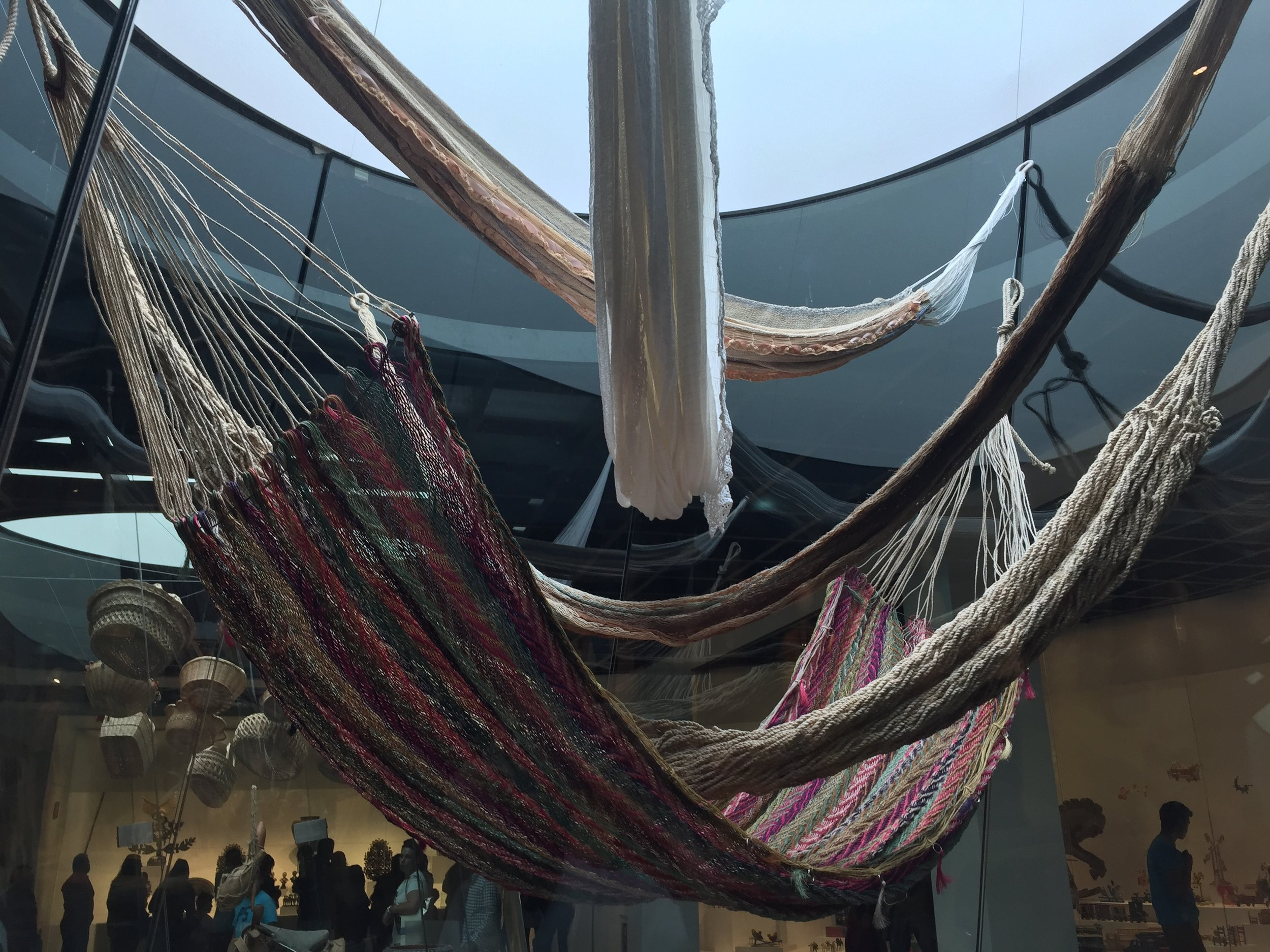 Naturally-dyed hammocks at the  Museo de Arte Popular .