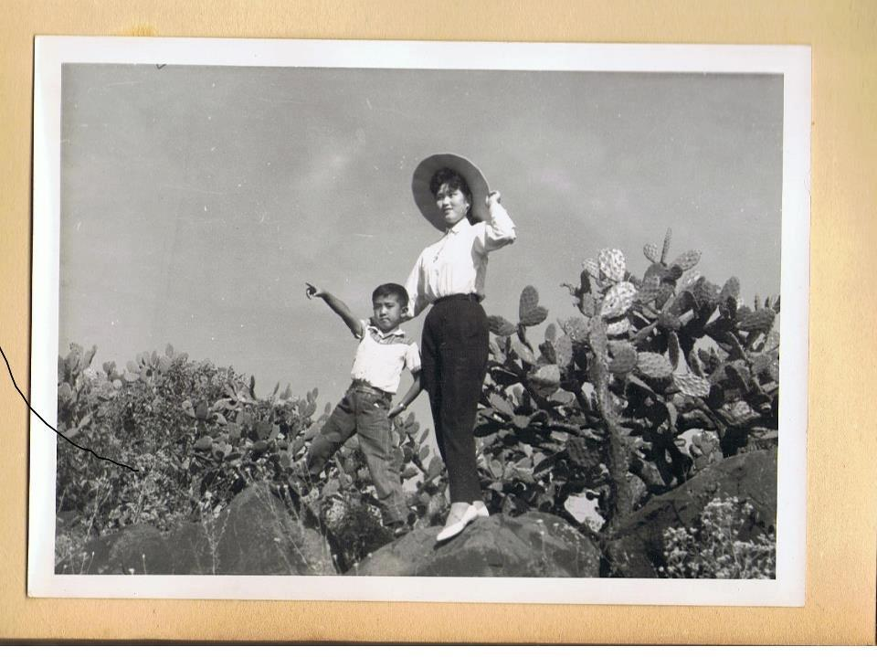 In a typical cactus field in México. My grandfather as a young boy, Pepe (Kunio) Komatsu, and his mother, Tokino Arai, a shinshu apple harvester from Nagano, Japan. She was sent as a mail-order bride to México on request of my great-great grandfather, pictured on the right.