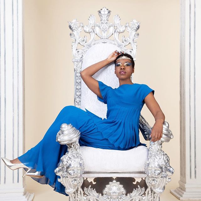 Loyalty and trust – wisdom and peace. Exhibit your  inner Queen in our Asymmetric Top and A-line Maxi Skirt in Yale Blue @billiescheepersphotography @jocelynprah  #royal #queen #goddess #feminine #feature #beautiful #throne #london #greece