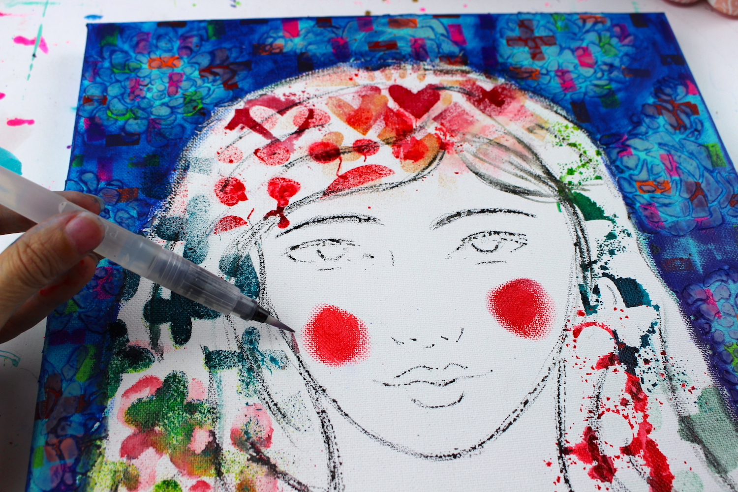mixed media portrait with stencils
