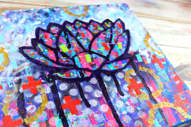 mixed media lotus flower