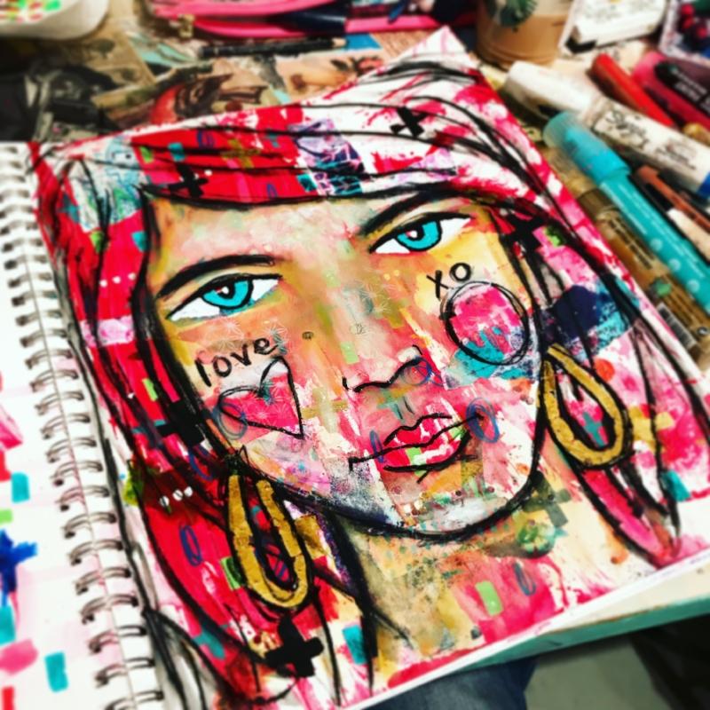 mixed media portrait art unraveled
