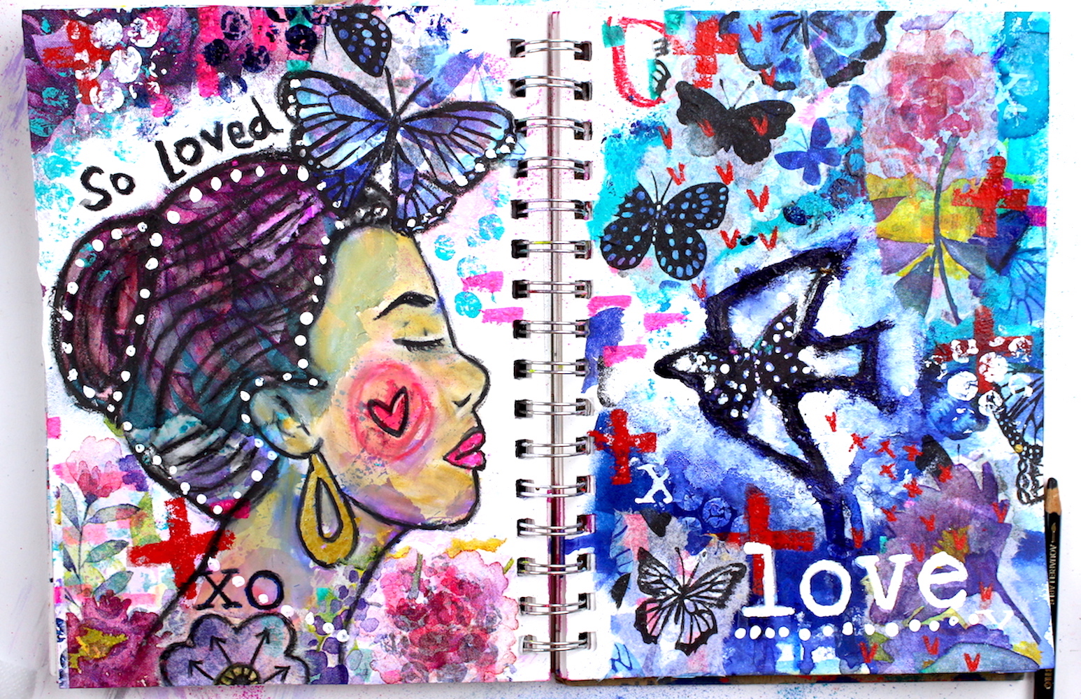 mixed media art journal page by nicole austin