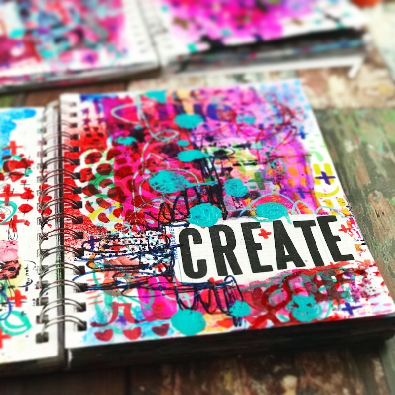 nicole austin art journal page mixed media