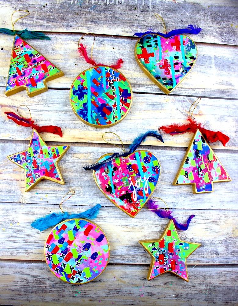 mixed media ornaments kinueko