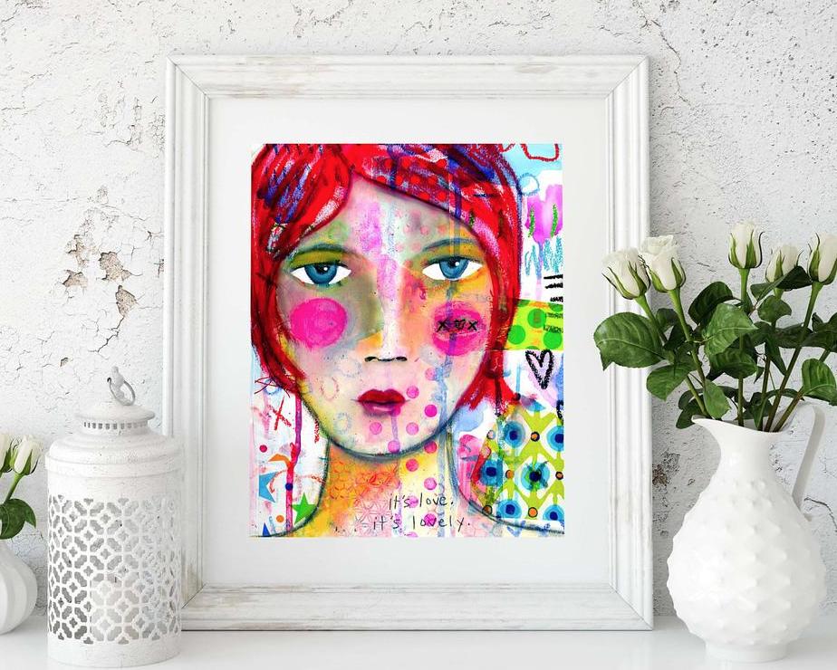 love girl mixed media art print