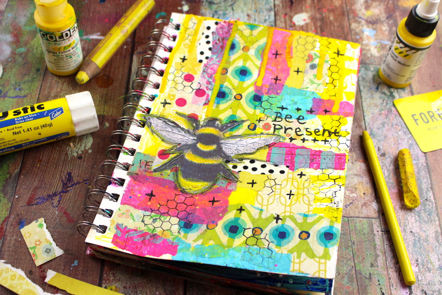 mixed media bee life documented