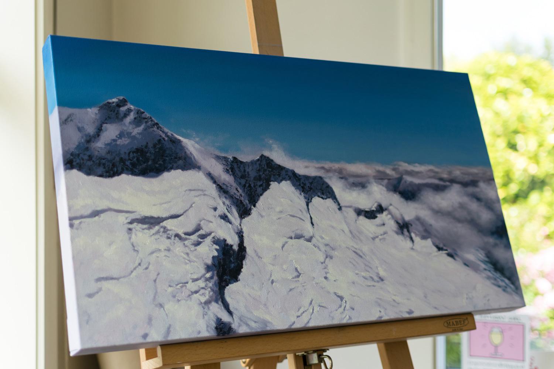 Work in progress on Mt Aspiring, Oil on canvas.