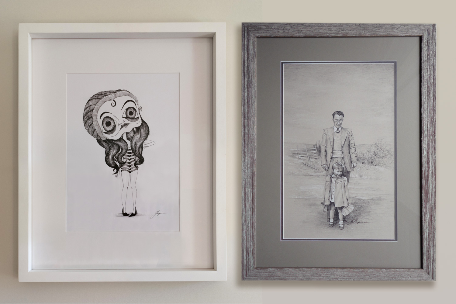 Left 'Lost Youth' 2012, Ink on paper, 230mm x 330mm (9in x 12.9in). Right 'Father and Daughter' 2013, White and black charcoal on brown paper, 260mm x 400mm (10.2in x 15.7in).