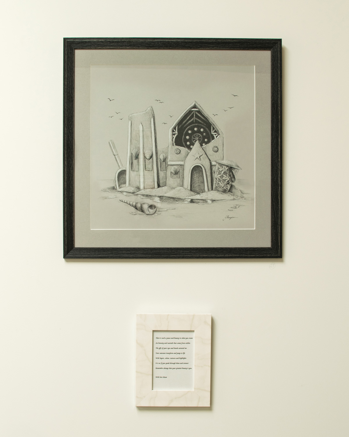 The framed work hung at the I AM / WE ARE exhibition at the Welder Collective.