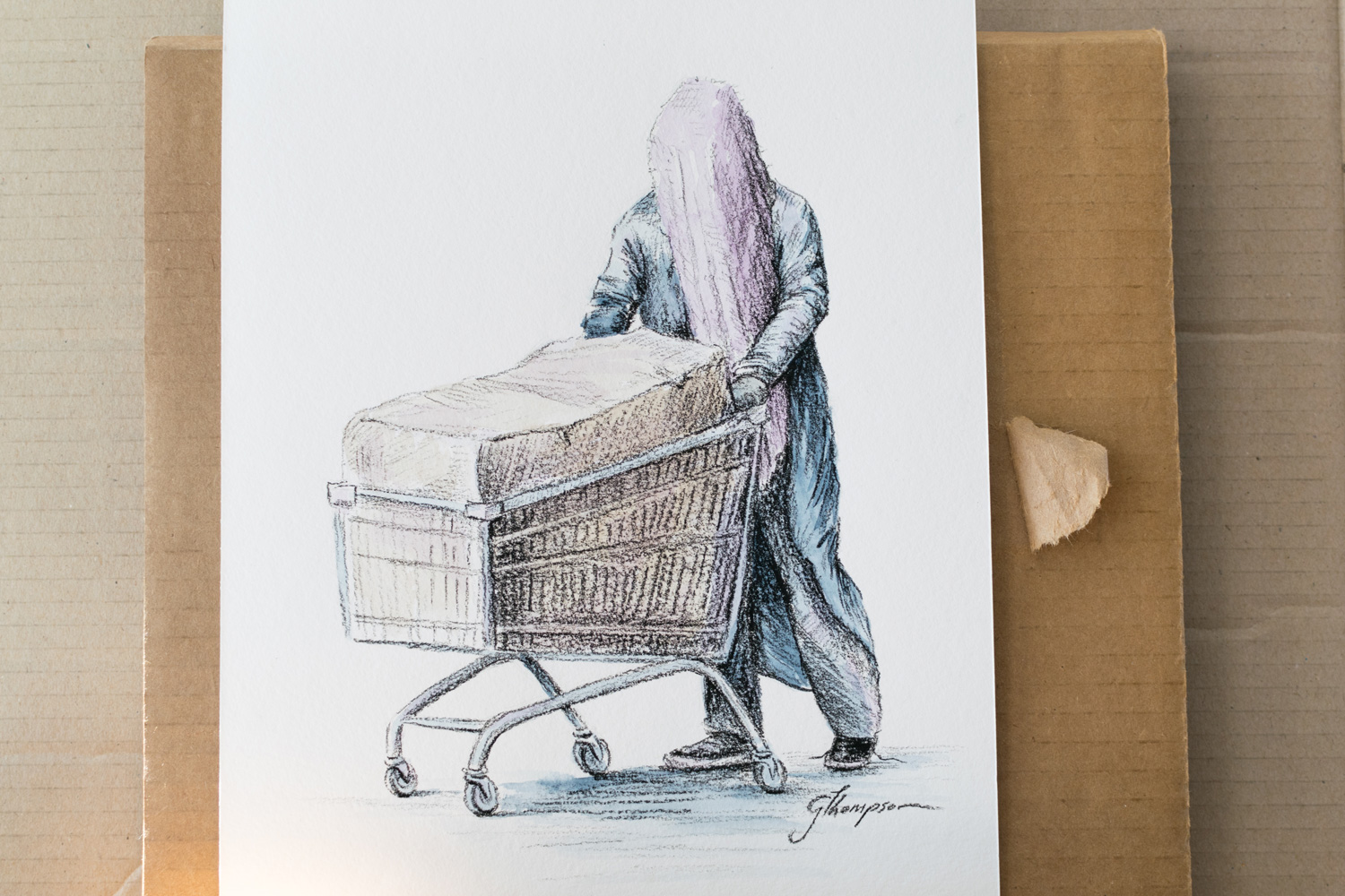 Sketch of the haunting homeless figure I saw which prompted my response.