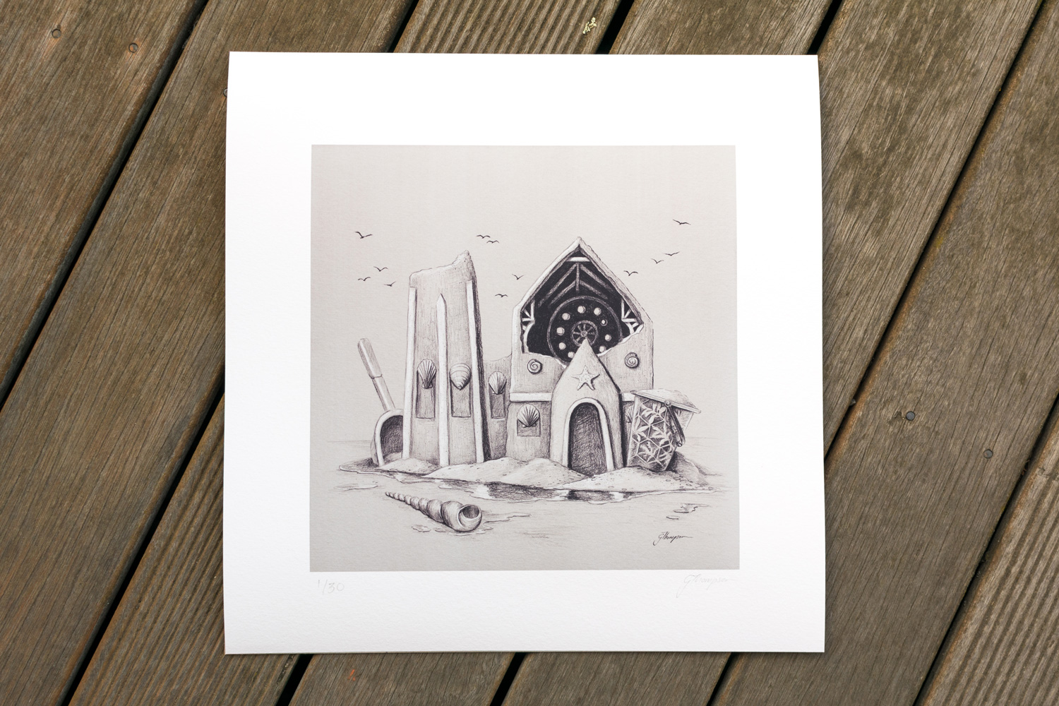 Limited edition giclee print on 100% cotton rag paper. 330mm x 345mm.