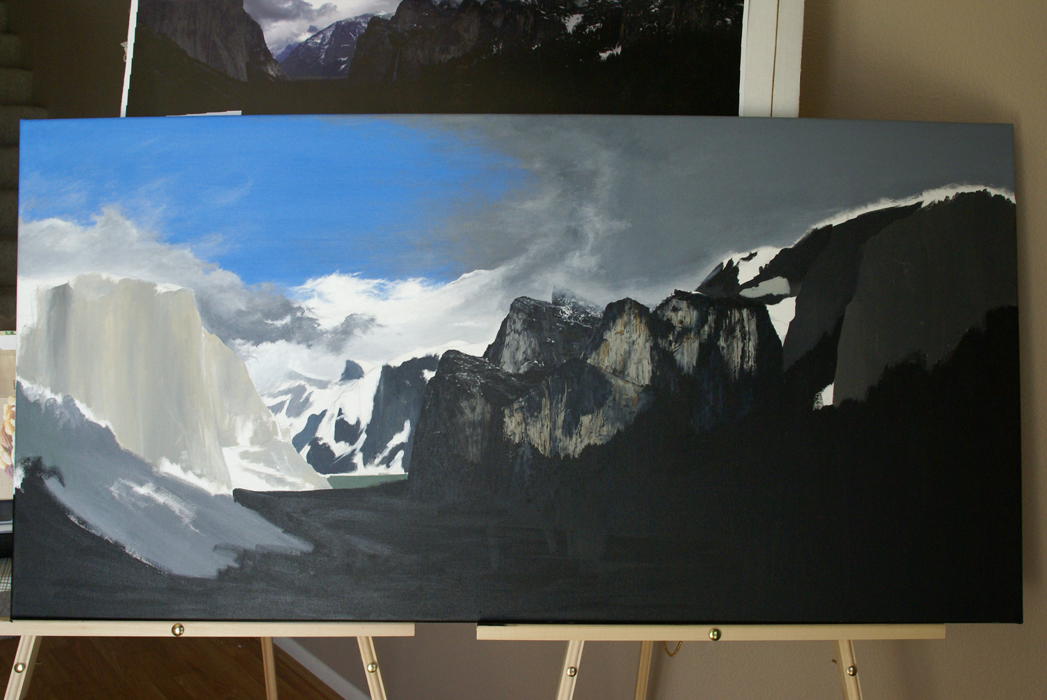 The last progress photo in the States before transporting the painting to New Zealand.
