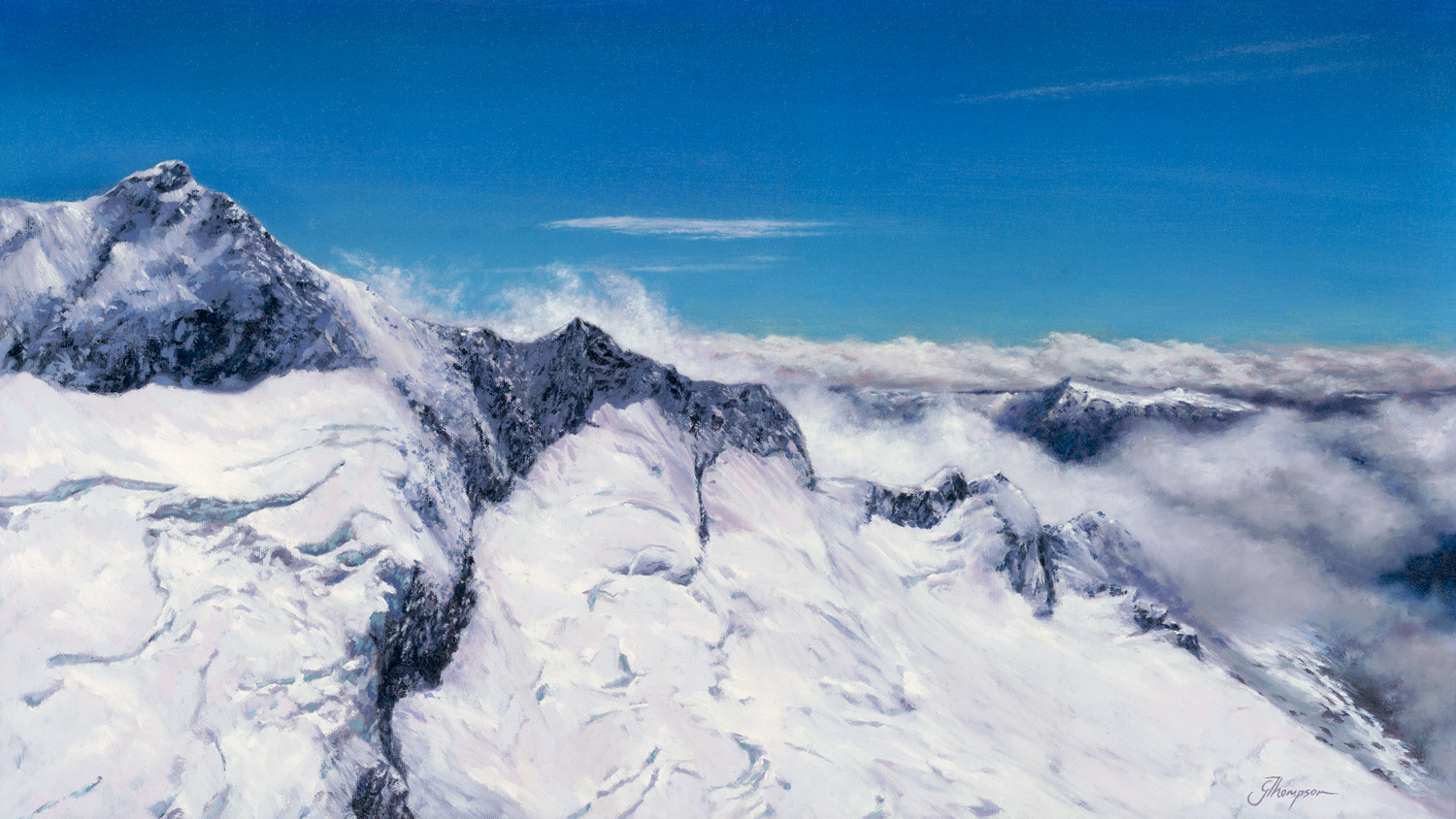 Mt Aspiring, 2017, Oil on canvas, 700 x 400mm , (27.5 in x 15.7 in)