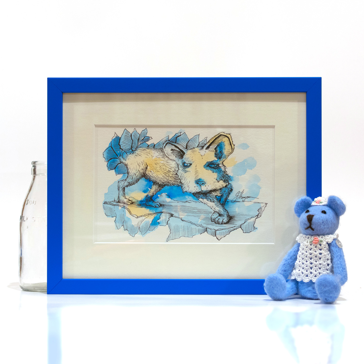 African Wild Dog on Ice - SOLD