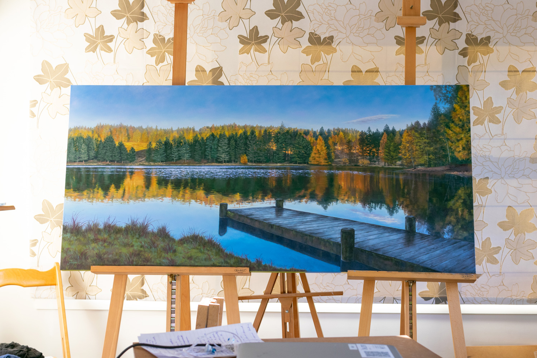 'Morning Light on Coalpit Dam' 1620x760mm, Oil on canvas, 2019.