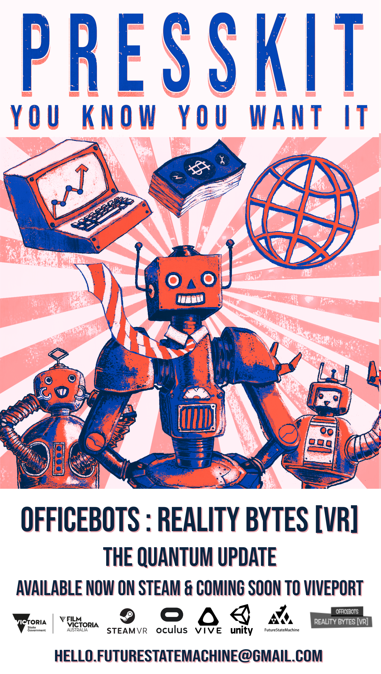 Synopsis... - You know the program: get a job, work, retire, then die. But what if you could short circuit the employment machine, interrupt the process, and escape?OfficeBots: Reality Bytes is a little game with a big heart. Explore a wonderfully weird corporate office, listen to your robotic co-workers' stories, and help to solve their problems. Ultimately your goal is to find a way to escape, but your journey to freedom will give you many opportunities to brighten up the lives of others.
