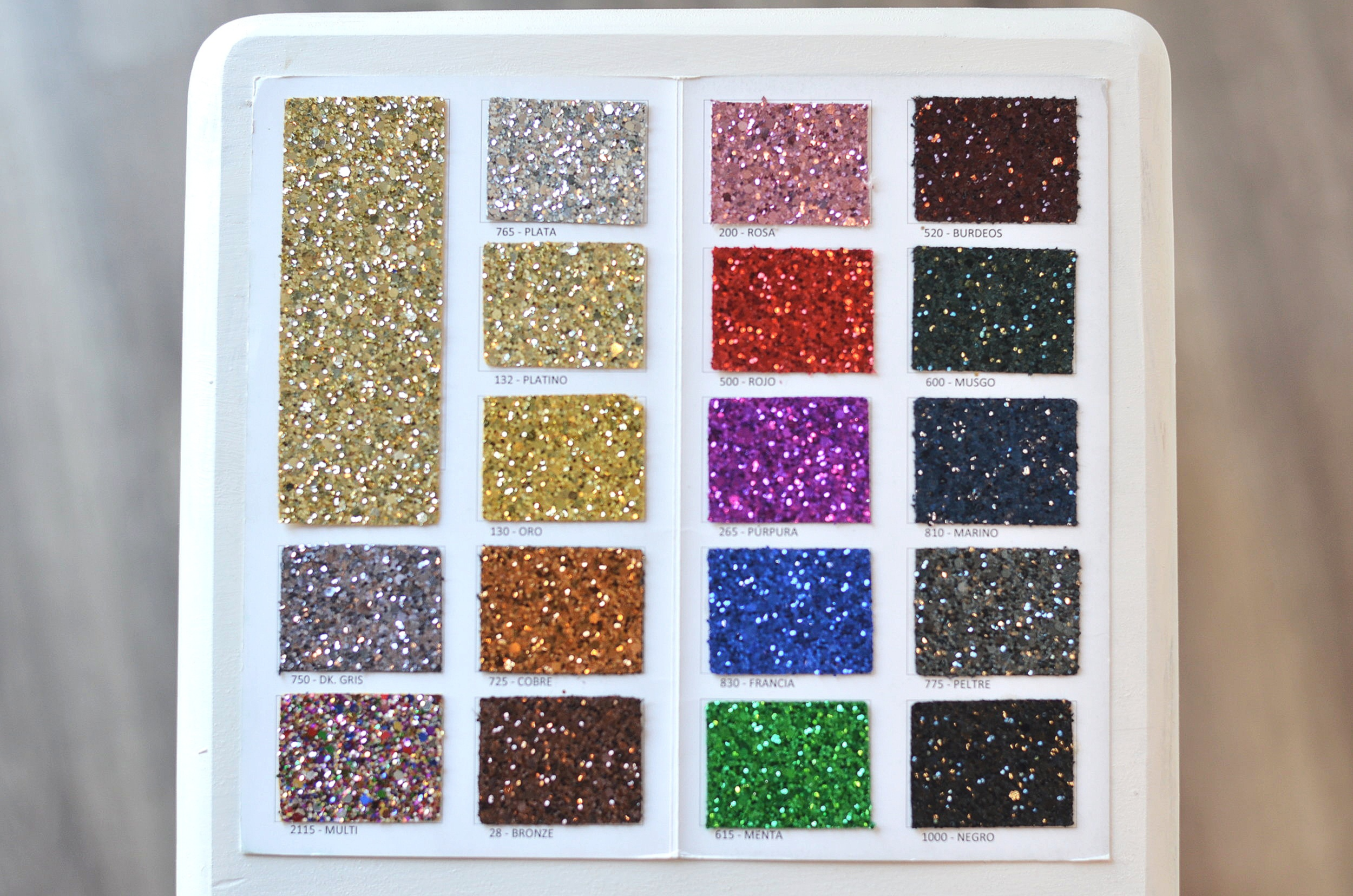 Glitter grano grueso color. -