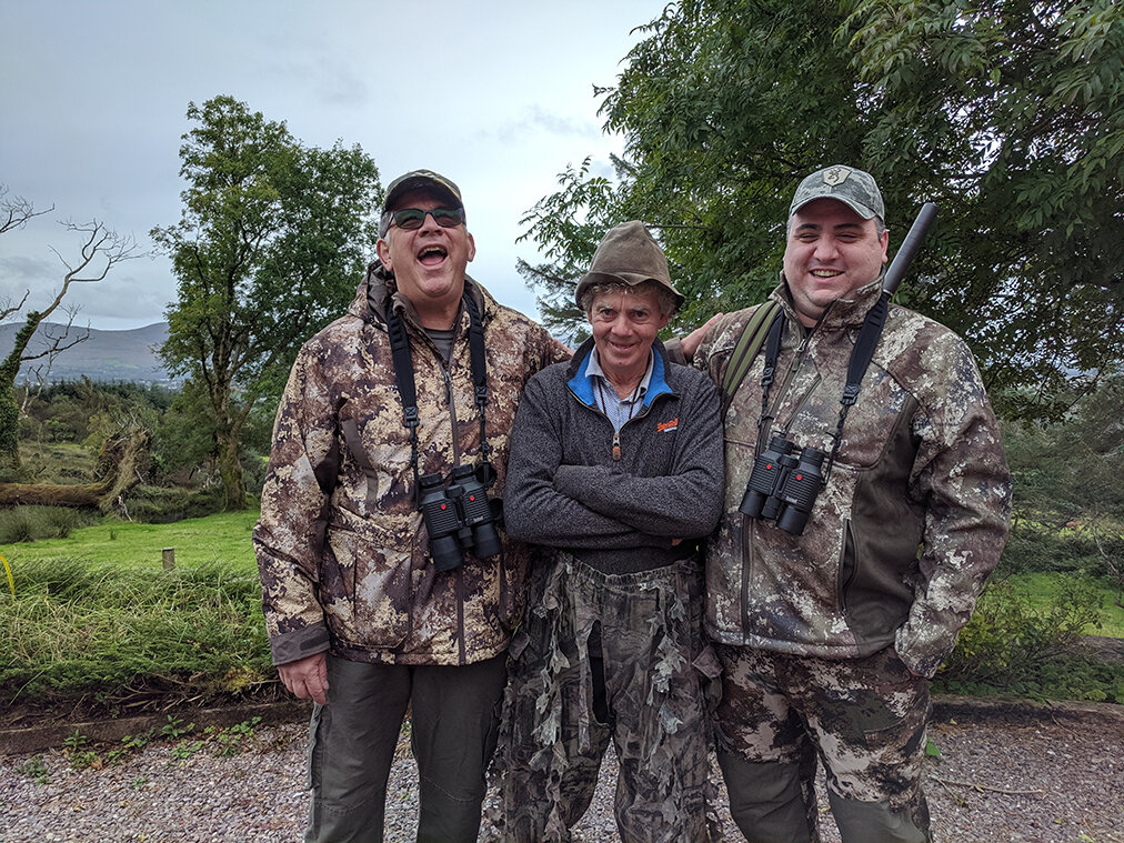 Father and Son Bob and Michael from TN enjoy a laugh with their guide Davie before heding out after a fantastic Irish Sika Stag.