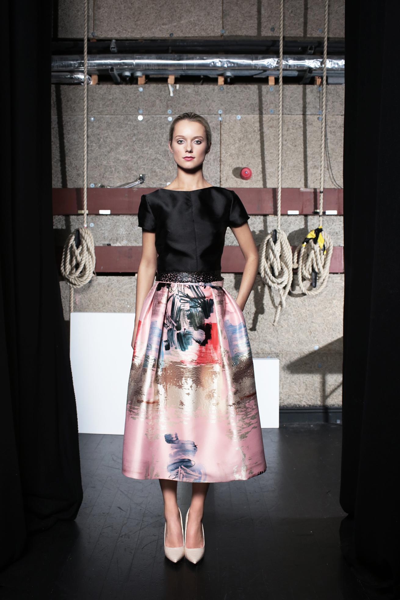 Jo Jo Top Black Taffeta & Margot Skirt Abstract Print
