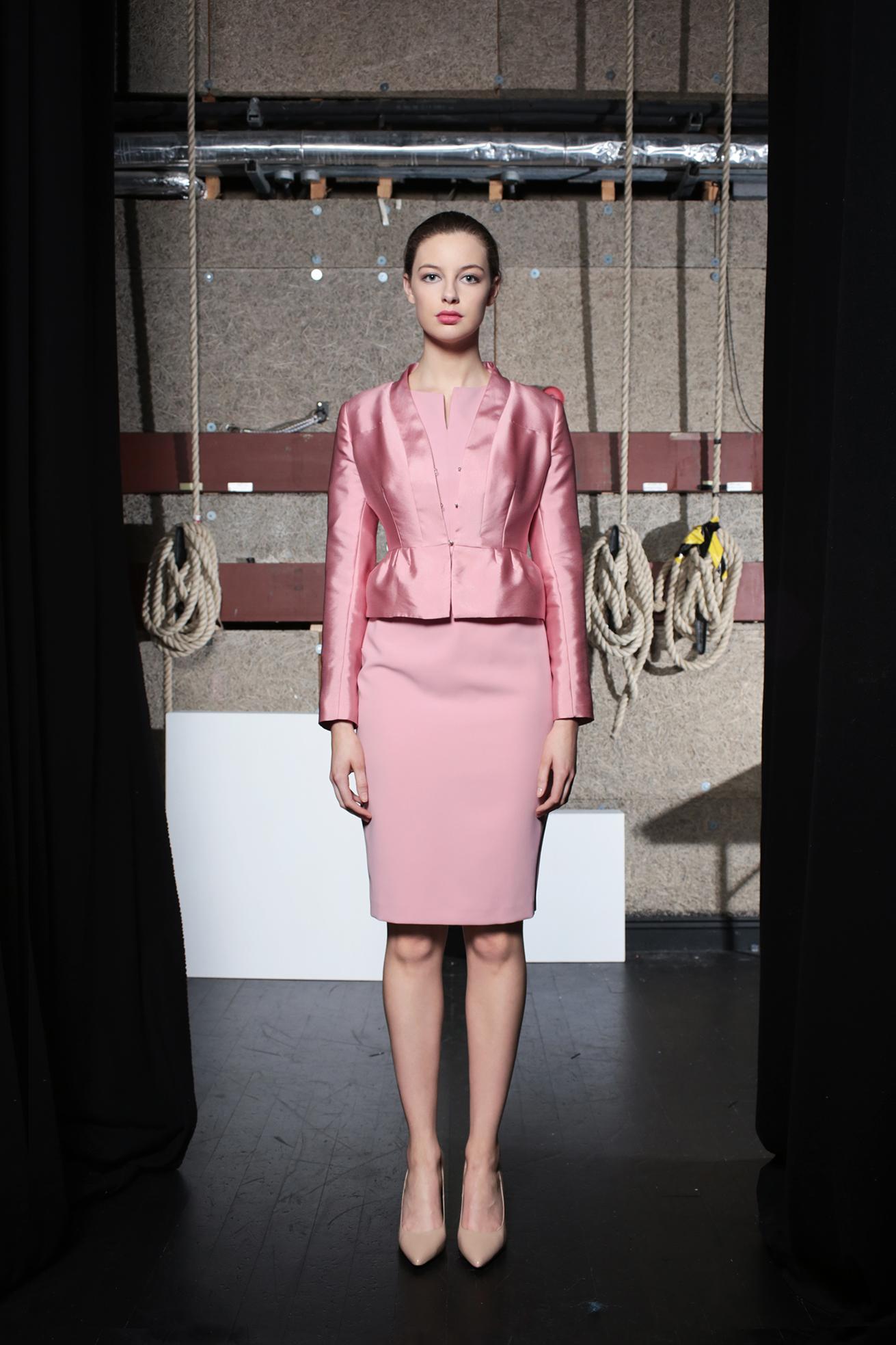 Viola Jacket Soft Pink Taffetta & Noot Pink Dress
