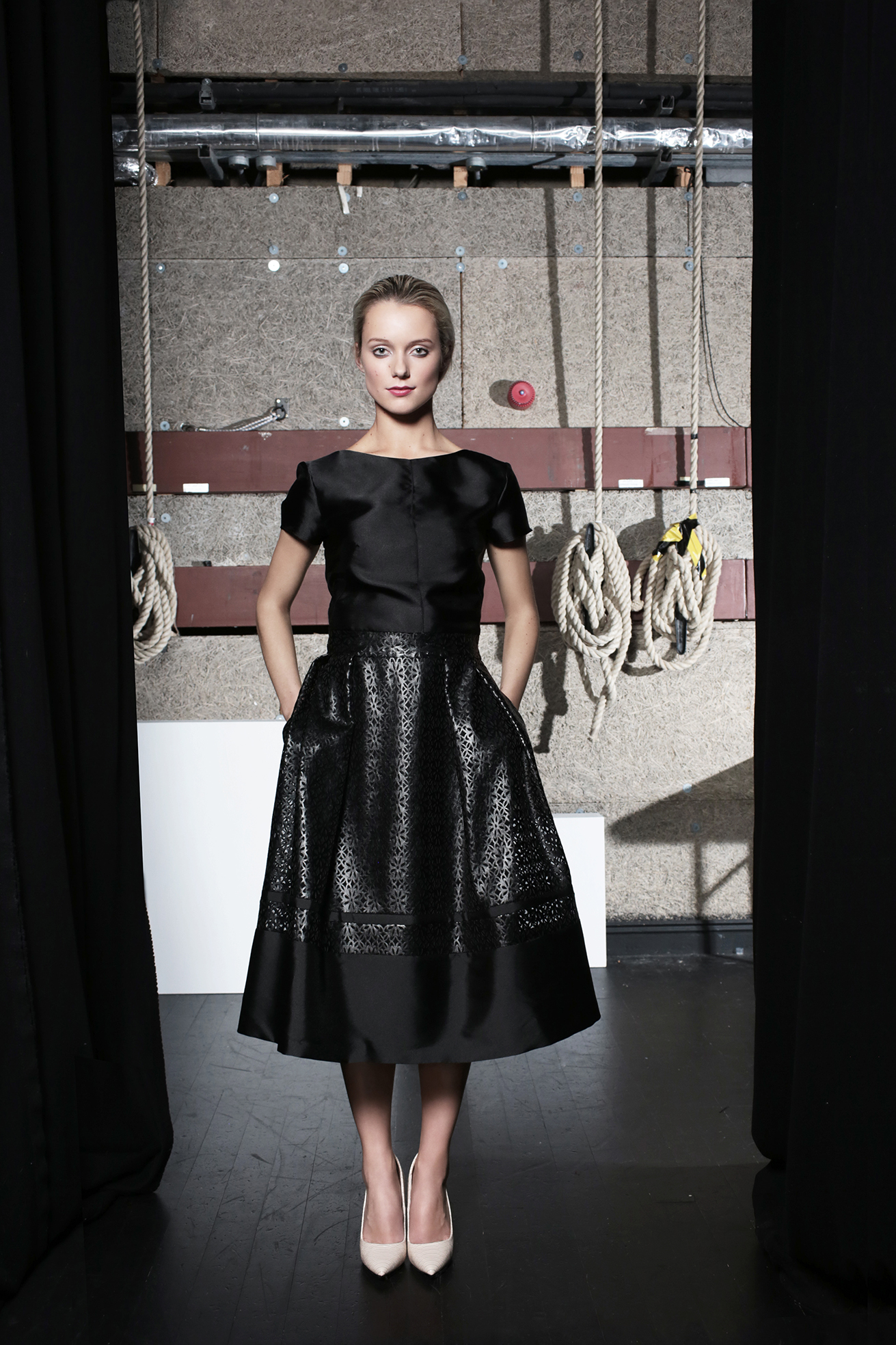 Jo Jo Top Black Taffeta & Blake Skirt Black Leather Flower