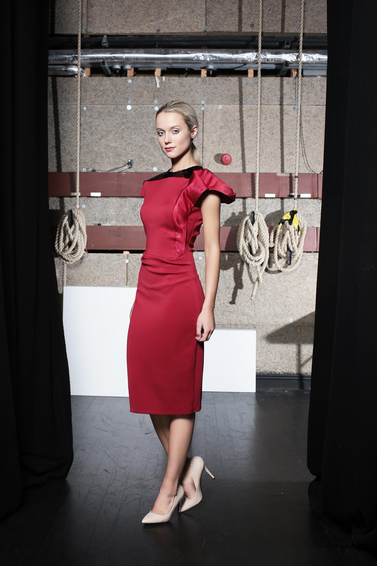 Hepburn Dress Claret Neoprene