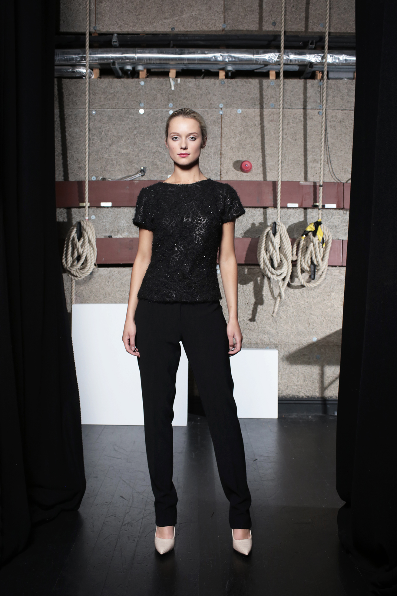 Diaz Top Black Knit & Aya Trouser Black