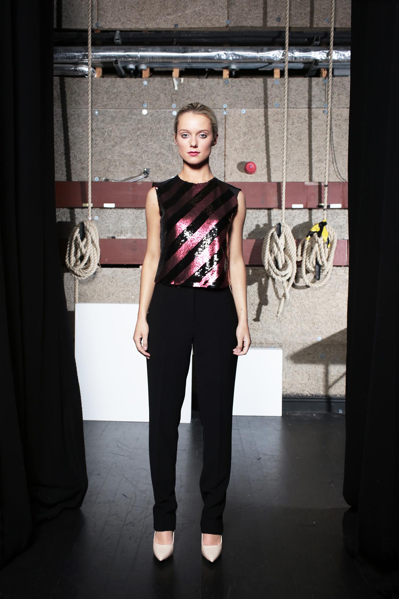 Heidi Sequins Top Claret & Aya Trouser Black