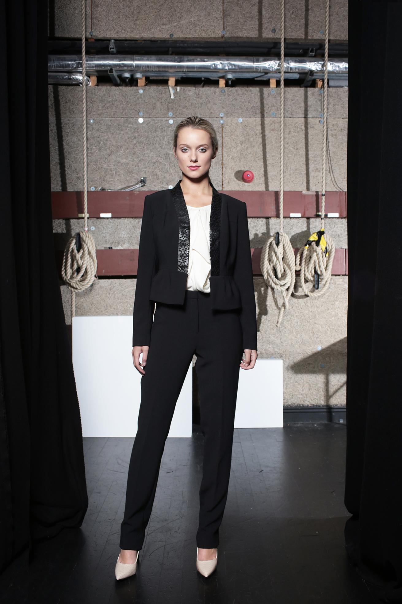 Viola Jacket Black, Tori Blouse Cream & Aya Trouser Black