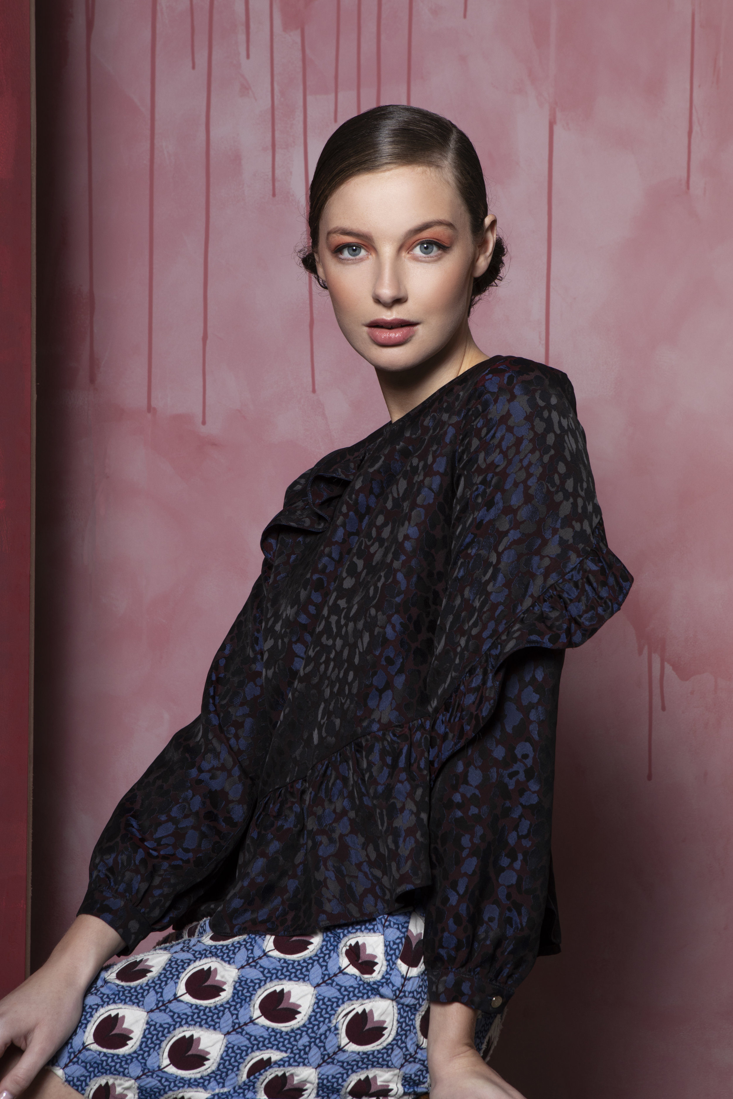 Sienna blouse Navy and Burgendy animal print €122, Maggie skirt blue jacquard €185.jpg