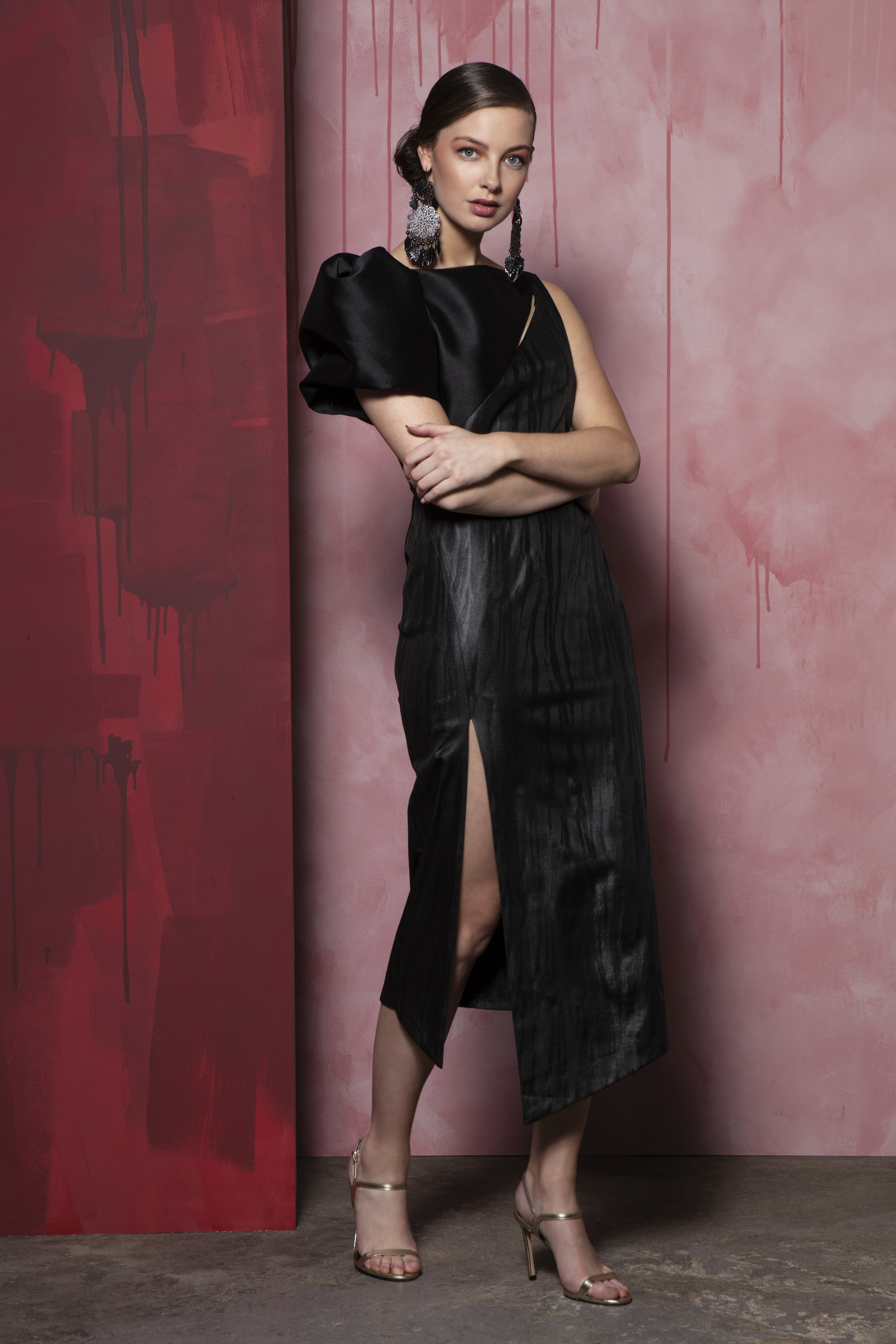 Diana dress, black leather jacquard, taffeta sleeve detail €270 (1).jpg