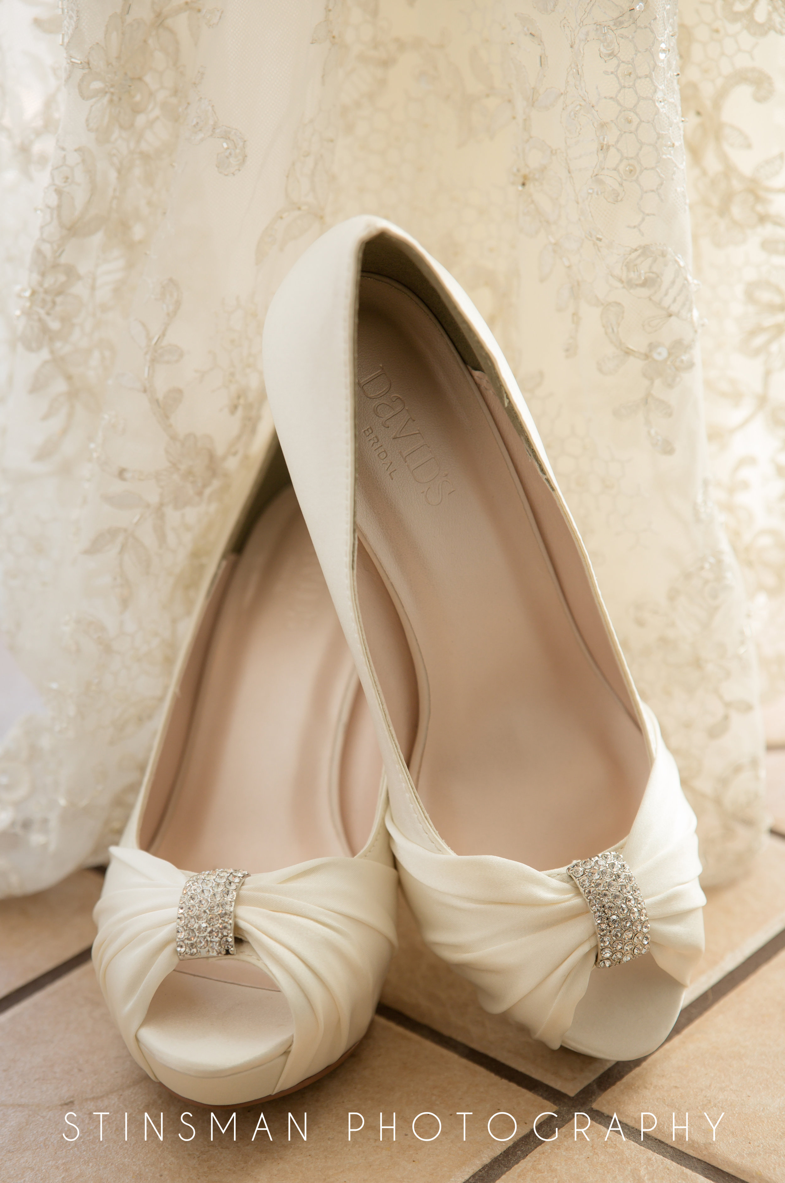 bride's shoes from david's bridal