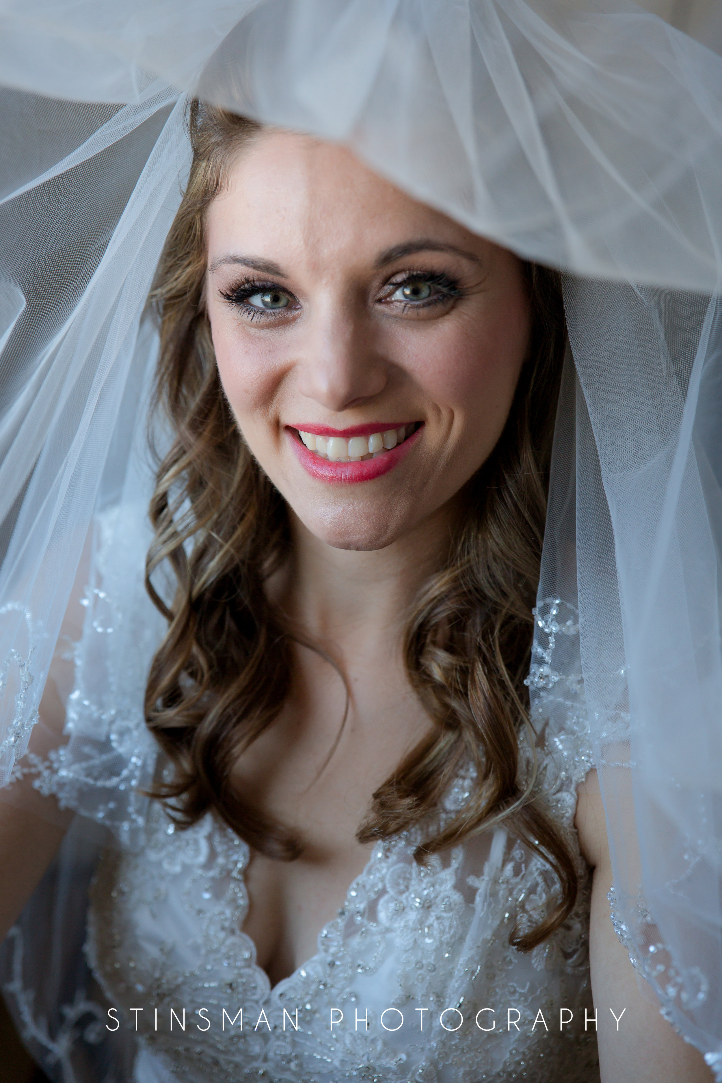 bride with veil over her head