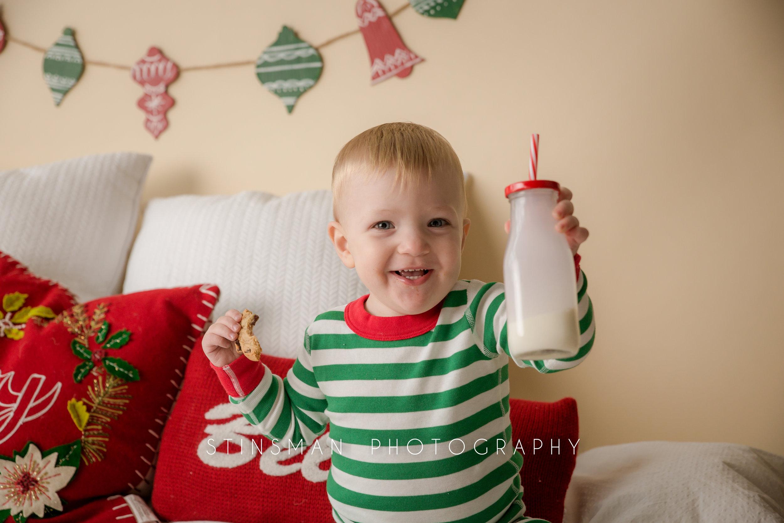 blonde boy loves milk and cookies