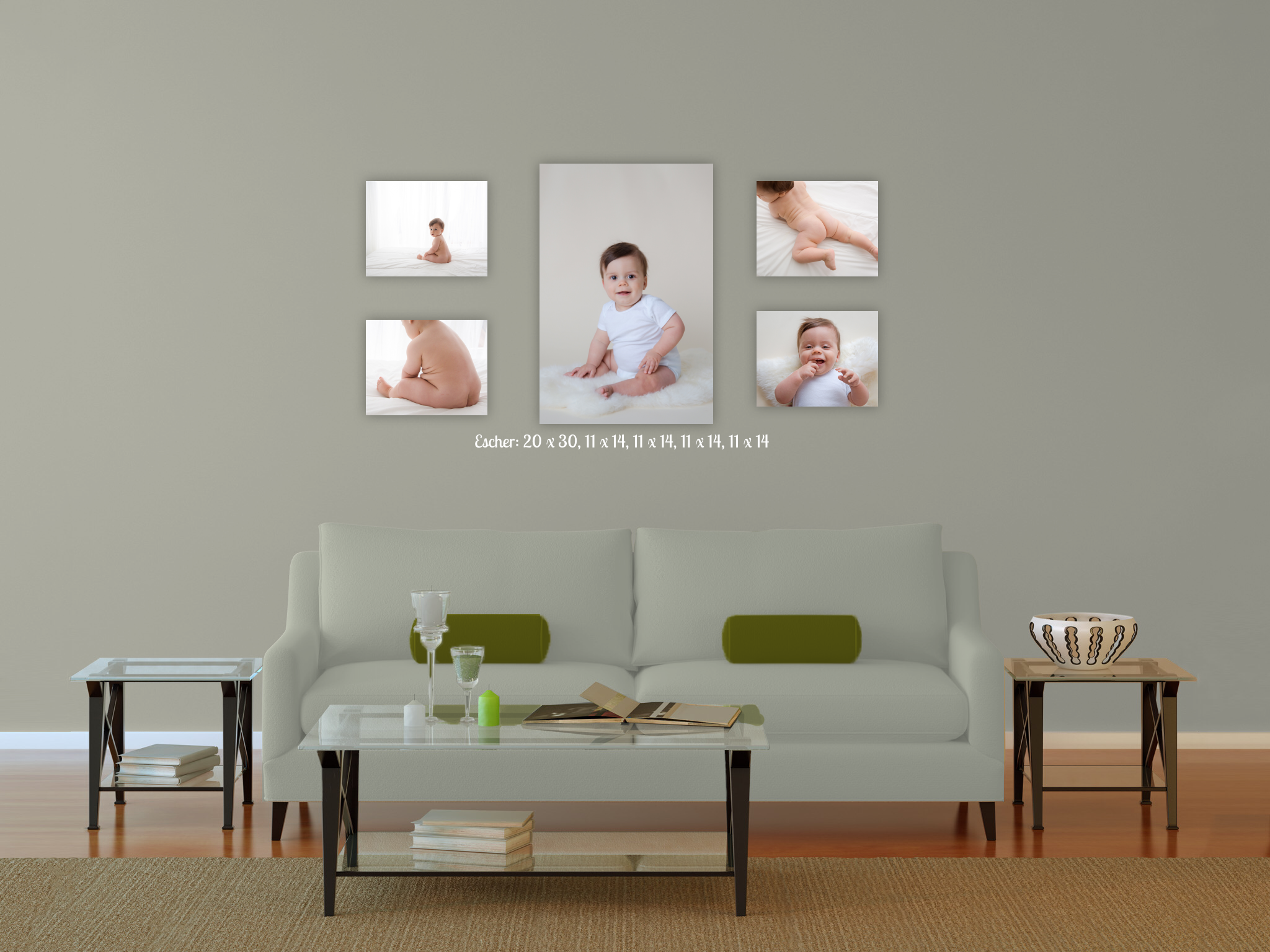 living room canvas wall gallery with 9 month old baby boy wearing white. new jersey children's photographer