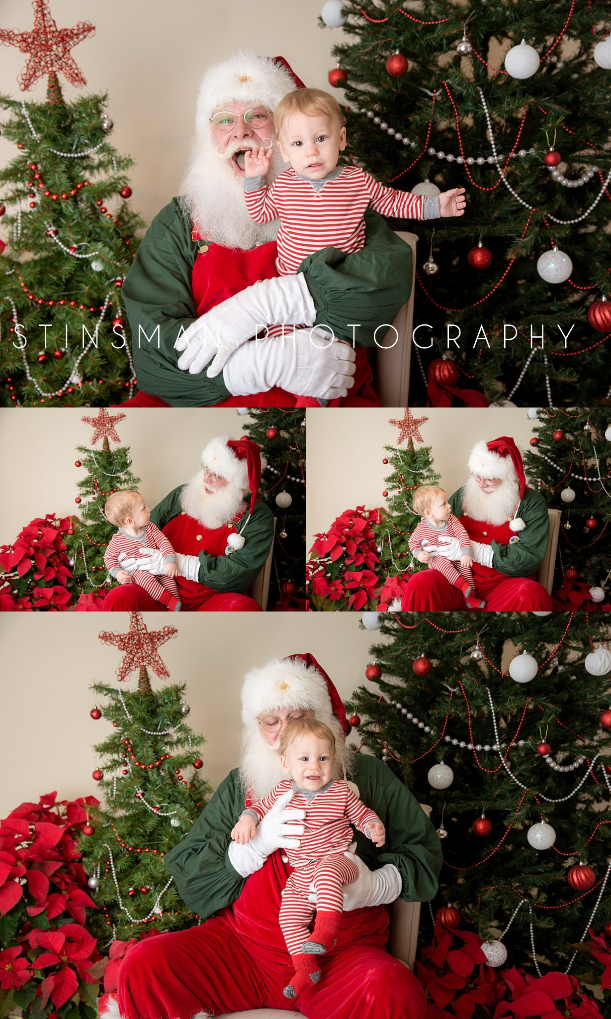 little boy in red stripped pajamas visiting santa new jersey photographer