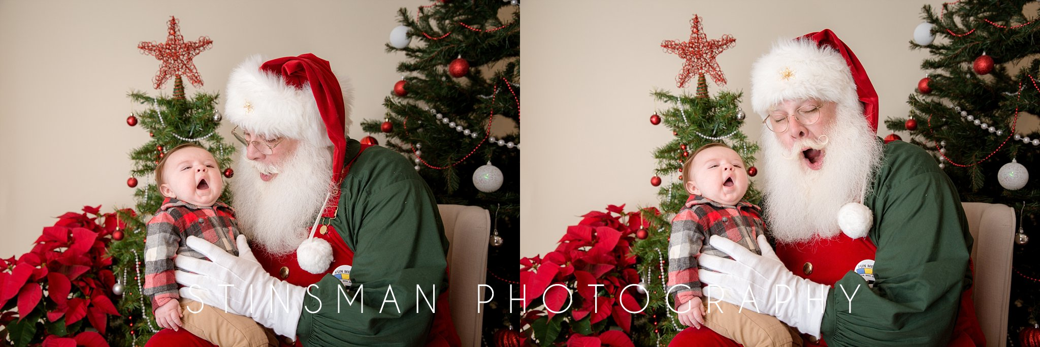 infant yawning while sitting on Santa's lap in new jersey santa mini sessions